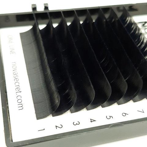 Ресницы Novasecret BLANC Черные, одна длина, изгиб D+