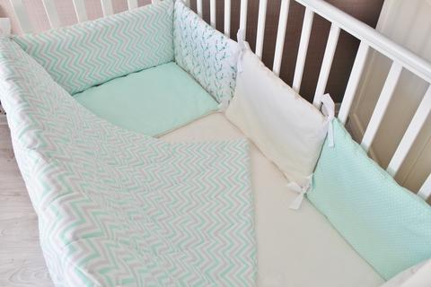 Комплект в кроватку Сонное утро, на 4 стороны кроватки