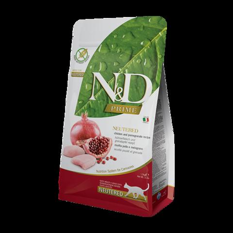 Farmina PRIME Neutered Chicken & Pomegranate Сухой корм для стерилизованных кошек и кастрированных котов с Курицей и гранатом Беззерновой