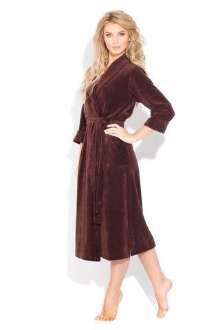 Женский велюровый халат 383 шоколадный