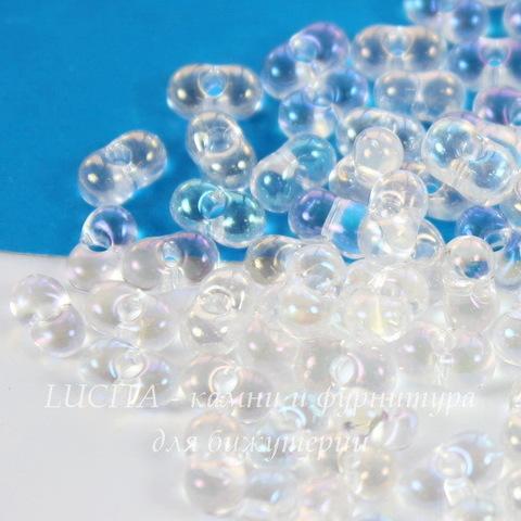 58205 Бисер Preciosa Фарфаль (Farfalle) 6,5х3,2 мм прозрачный радужный