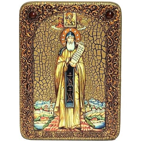 Инкрустированная икона Преподобный Никита Столпник, Переславский чудотворец 29х21см на натуральном дереве, в подарочной коробке