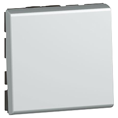 Кнопочный выключатель 2 модуля. - 6 A. Цвет Алюминий. Legrand Mosaic (Легранд Мозаик). 079240