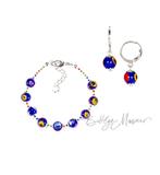 Комплект Муррина синего цвета (серьги, браслет)