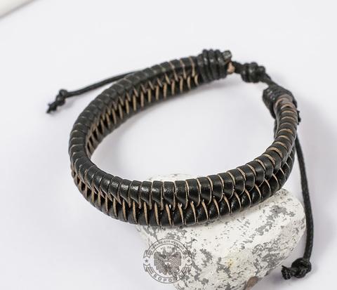 BL356-1 Плетеный мужской браслет из натуральной кожи черного цвета