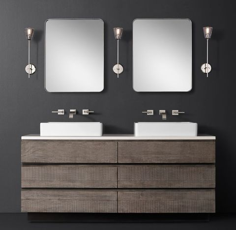 Monterey Double Vessel Vanity - Stone Top - Wall Mount