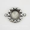 """Сеттинг - основа - коннектор """"Сердечки"""" (1-1) для камеи или кабошона 6,5-7 мм (оксид серебра)"""