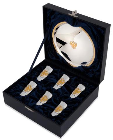 Набор из 6 серебряных стопок «Герб» полированных с позолотой и подносом «Герб»