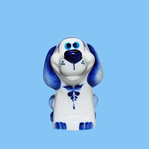Статуэтка фарфоровая собака Крендель кобальт