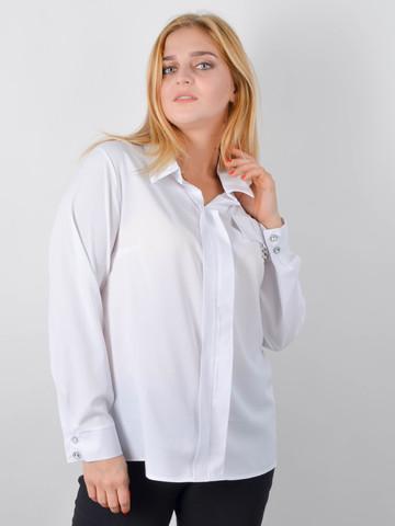Петра. Блуза плюс сайз для офиса. Белый.