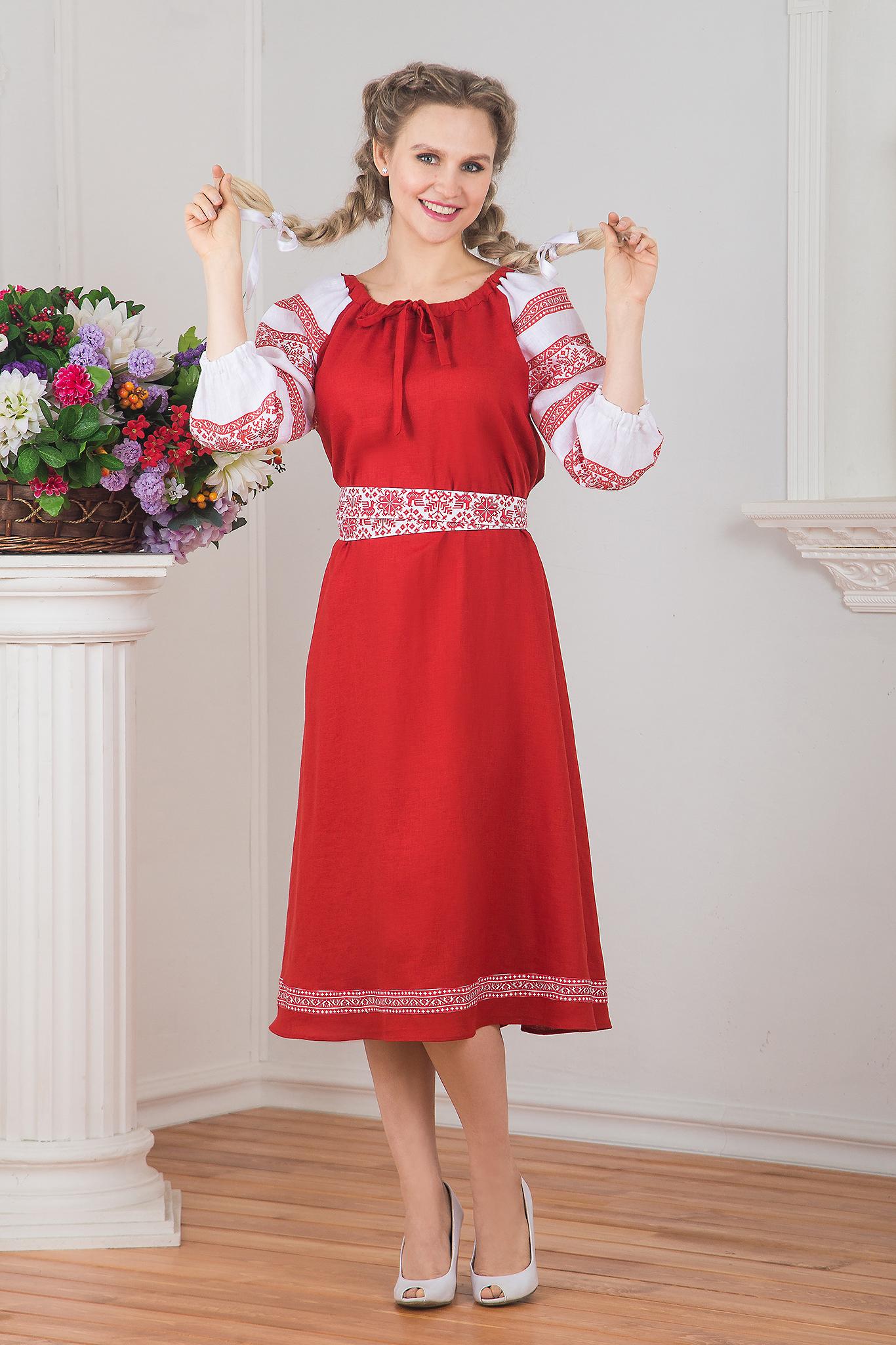 Льняное народное платье Калина красная от интернет-магазина Иванка