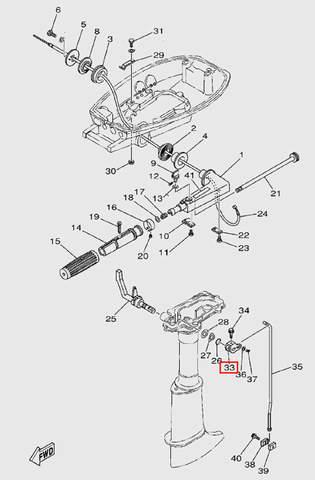 Рычаг тяги переключения передач для лодочного мотора T5 Sea-PRO (9-33)