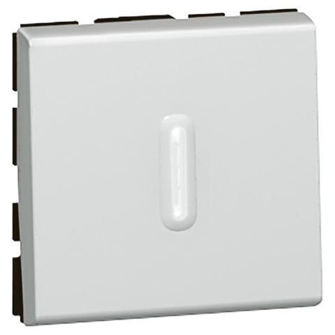 Кнопочный выключатель перекидной 2 модуль - со светодиодной подсветкой - 6 A. Цвет Алюминий. Legrand Mosaic (Легранд Мозаик). 079242