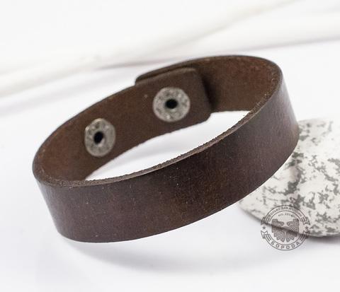 BL357-2 Кожаный браслет-полоска на кнопках (коричневый)