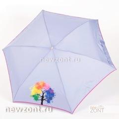 Сиреневый плоский мини зонт NEX с ярким деревом