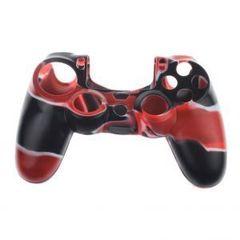 PS4 Чехол для геймпада DualShock 4 (камуфляж красный) + накладки