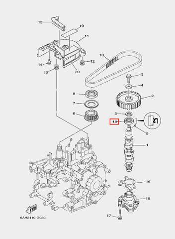 Сальник распредвала для лодочного мотора F20 Sea-PRO 21×35×7 (8-18)