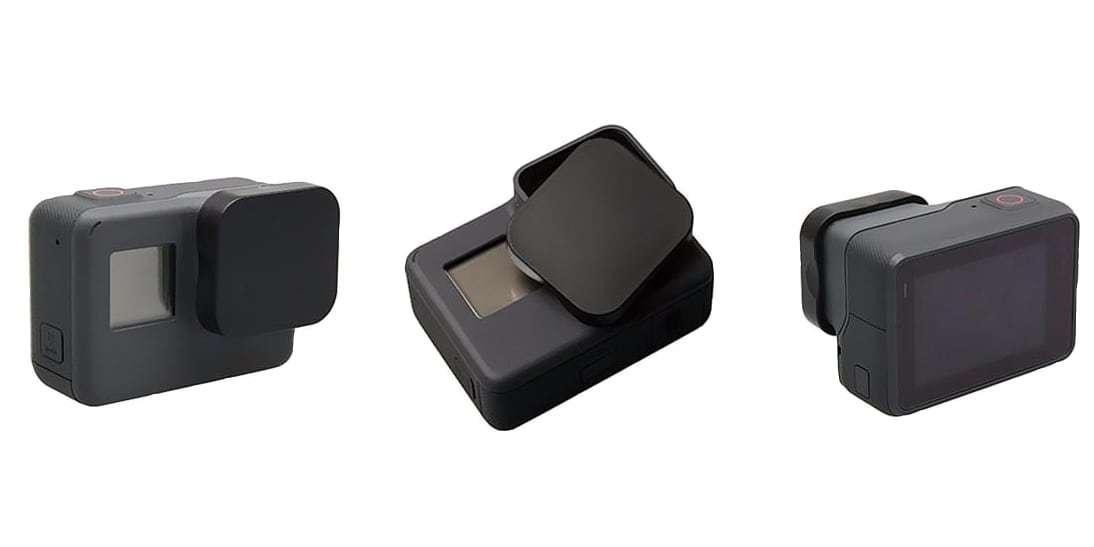Защитная крышка на объектив HERO5, HERO6 и HERO7 Black вид с разных углов