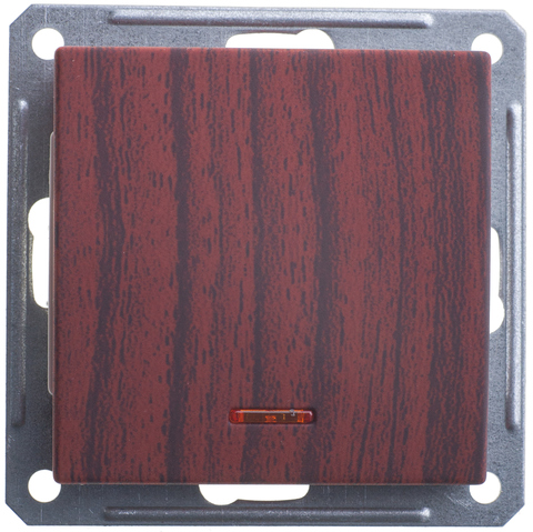 Выключатель одноклавишный с подсветкой, 16АХ. Цвет Морёный дуб. Schneider Electric Wessen 59. VS116-153-9-86