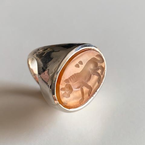 Кольцо-печатка с инталией 15.5 (сердолик, овал)