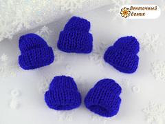 Декор шапочка вязаная темно-синяя