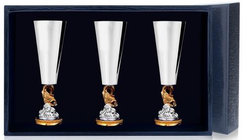 Набор серебряных рюмок «Золотая Рыбка» с позолотой из 3 предметов