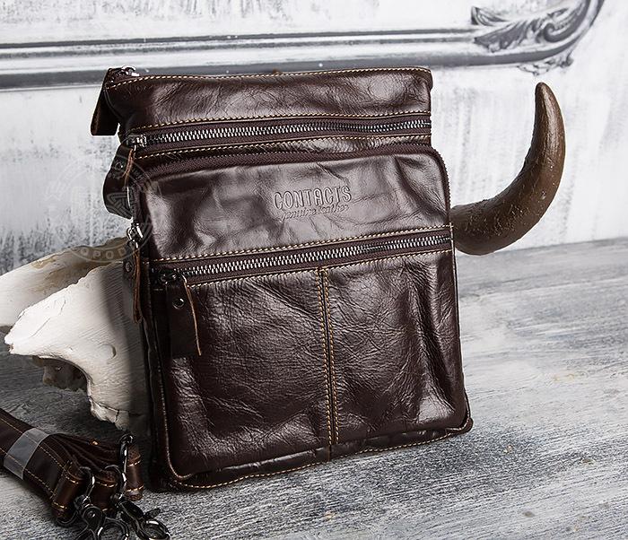 1de60ac76aec BAG414-2 Стильная мужская сумка из кожи с ремнем на плечо