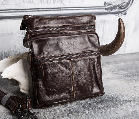 BAG414-2 Стильная мужская сумка из кожи с ремнем на плечо