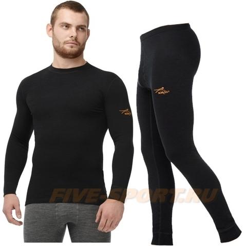 Комплект термобелья из шерсти мериноса Norveg Classic Black мужской