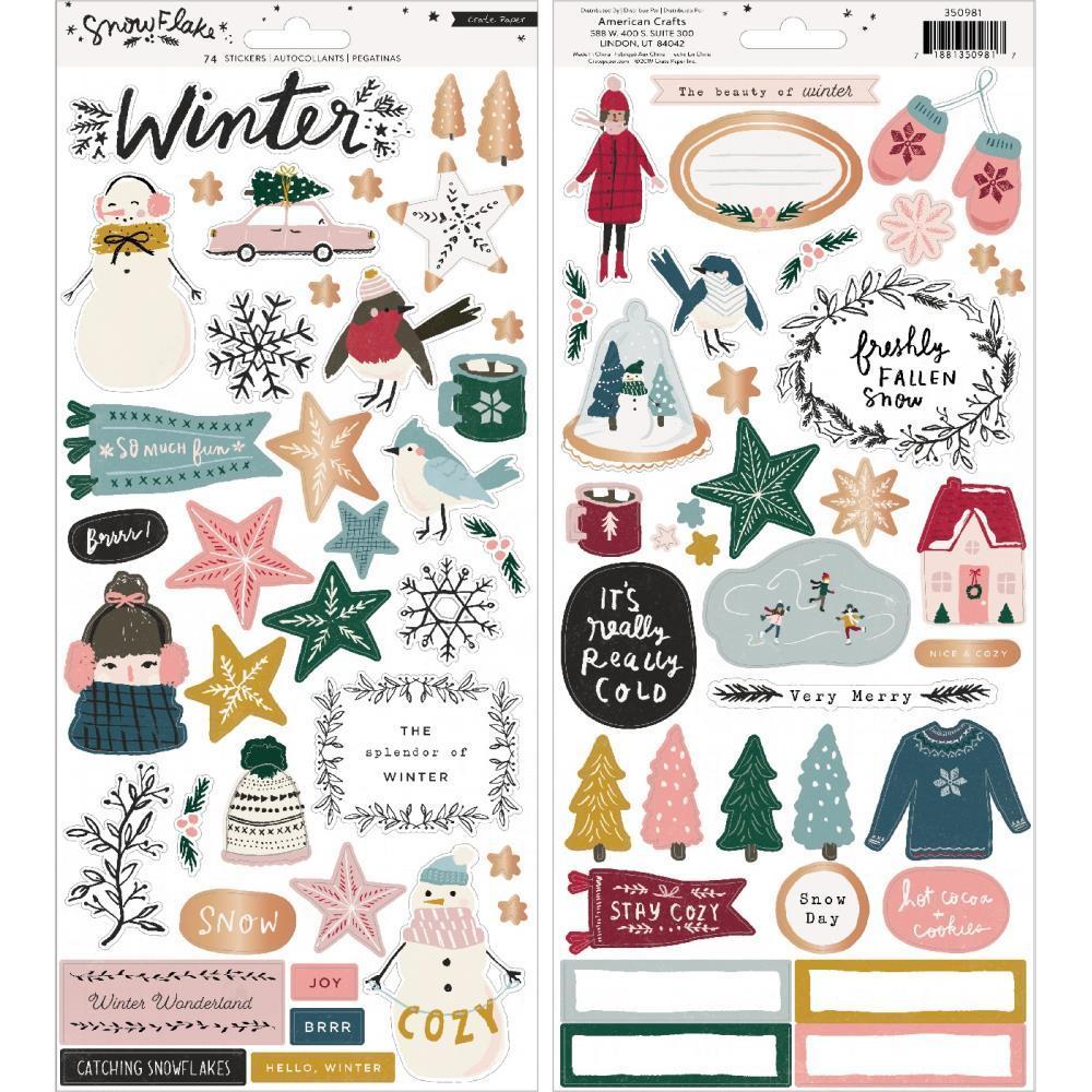 Стикеры 15х30 см -Snowflake Cardstock Stickers 74шт