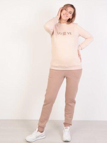 Евромама. Костюм для беременных и кормящих из футера с начесом, бежевый