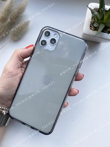 Чехол iPhone 11 Pro Max Simple silicone /transparent black/ 444