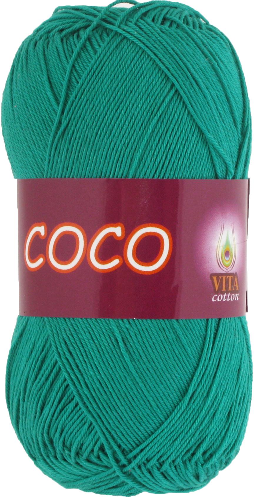 Пряжа Vita Coco зеленая бирюза 4310