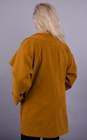 Софі. Оригінальне пальто plus size. Гірчиця.
