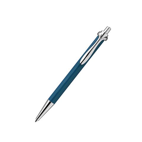 Ручка роллер с нажимным механизмом синяя