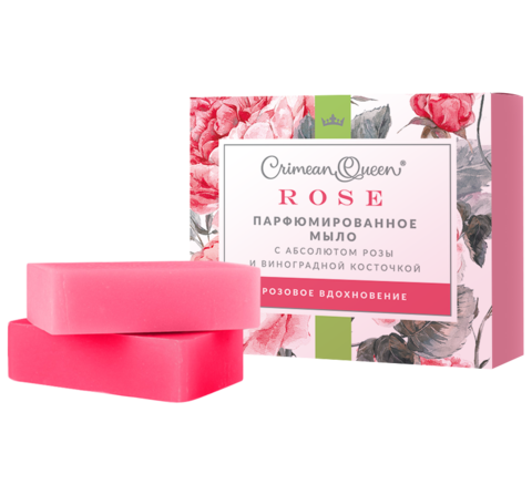 Crimean Queen Набор Парфюмированного мыла с абсолютом розы и виноградной косточкой Розовое вдохновение, 200г
