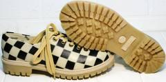 Туфли на толстом низком каблуке женские Goby TMK6506