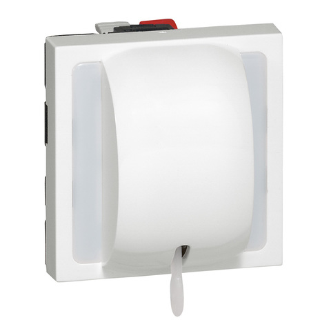 Кнопочный выключатель перекидной со шнуром 2 модуля. - 6 A. Цвет Белый. Legrand Mosaic (Легранд Мозаик). 077044