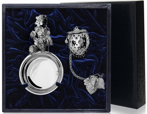 Серебряное ситечко «Ягодка» с подставкой