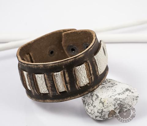 BL359-2 Кожаный браслет ручной работы на кнопках