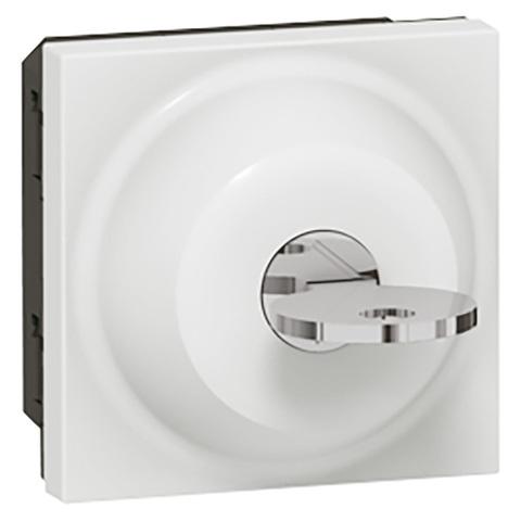 Выключатель с ключом 2-позиционный - 6 A - 2 модуля. Цвет Белый. Legrand Mosaic (Легранд Мозаик). 077072