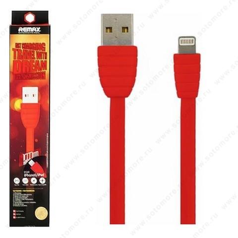 Кабель REMAX TRAVEL Lightning to USB 1.0 метр двустороний USB (папа) плоский красный