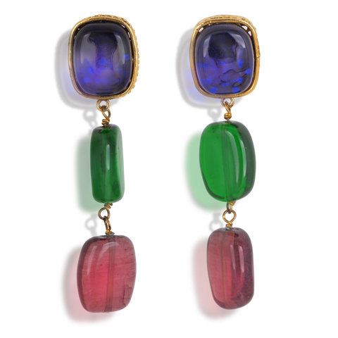Стильные клипсы Chanel из стекла Gripoix, 1980-e  |  Vintage chanel 23 drop dangle earrings Gripoix Glass Gold tone