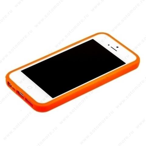 Бампер для iPhone SE/ 5s/ 5C/ 5 оранжевый с оранжевой полосой