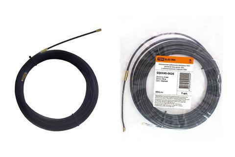Нейлоновая кабельная протяжка НКП диаметр 4мм длина 30м с наконечниками (черная) TDM