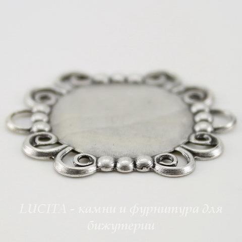 """Сеттинг - основа - коннектор """"Ажур"""" (1-1) для камеи или кабошона 18 мм (оксид серебра)"""