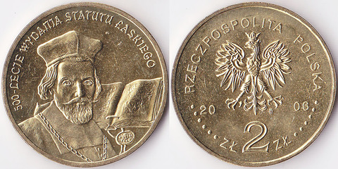 """Польша 2 злотых 2006 """"500-летие статута Лаского"""""""