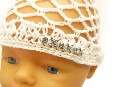 Шапка - сетка - Белый. Одежда для кукол, пупсов и мягких игрушек.