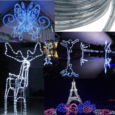 светодиодная гирлянда дюралайт синий цвет свет LED