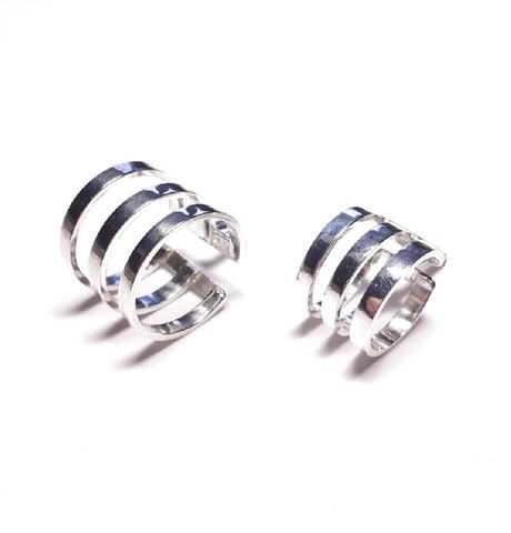 Midi ring set, sterling silver